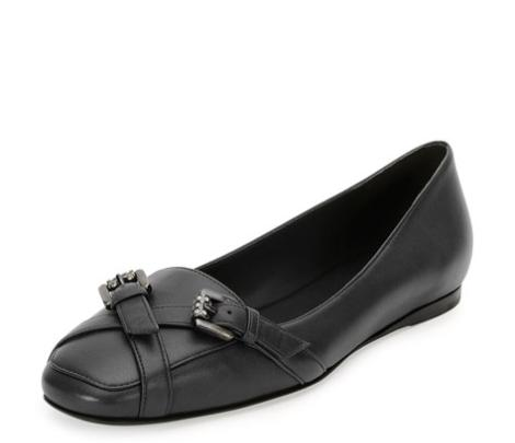 Bottega Veneta Napa Jeweled-Buckle Loafer, Black @ Neiman Marcus