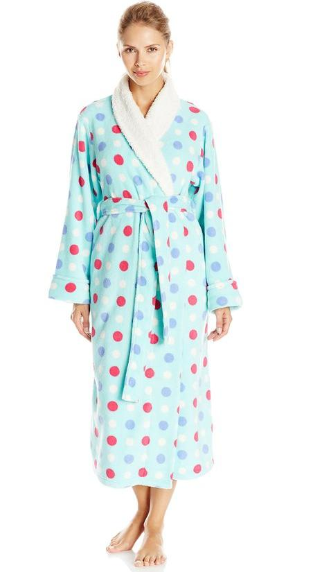 iRelax Women's Multi Dot Plush Long Robe with Shaggy Plush Trim @ Amazon