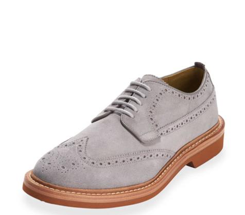Cole Haan Hammond Suede Wing-Tip Oxford, Ironstone @ Neiman Marcus