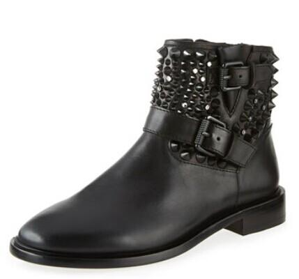 Ash  Punky Studded Leather Bootie, Black @ LastCall by Neiman Marcus