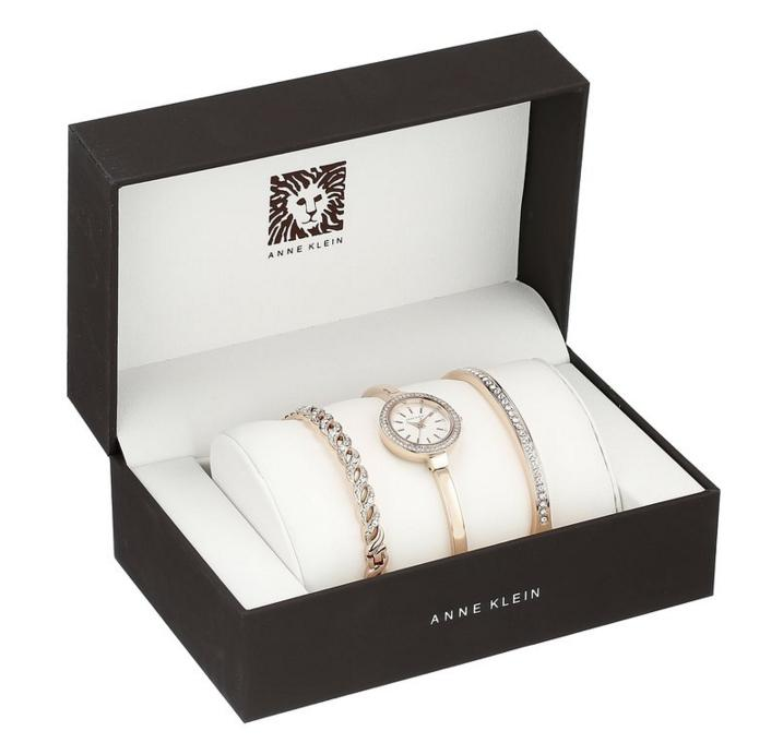 Lowest price! $69.50 Anne Klein Women's Swarovski Crystal Accented Rose Gold-Tone Bangle Watch and Bracelet Set