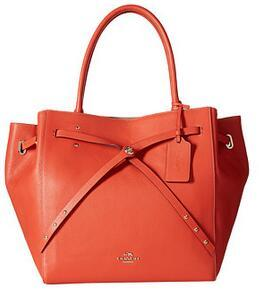 COACH Refined Pebble Leather Turnlock Tie Tote