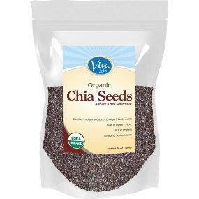 $8.54 Viva Labs The Finest Organic Raw Chia Seeds, 1 Pound