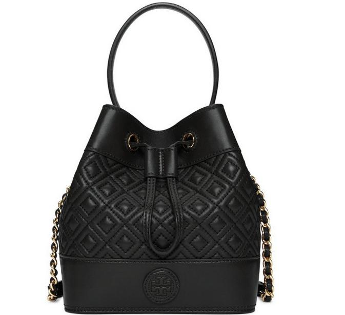 Tory Burch Marion Quilted Mini Bucket Bag, Black