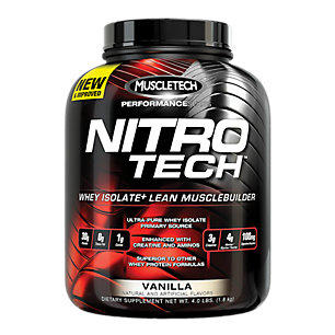 Two of the Four Pound Muscletech Nitro Tech Powder, Milk Chocolate or Vanilla