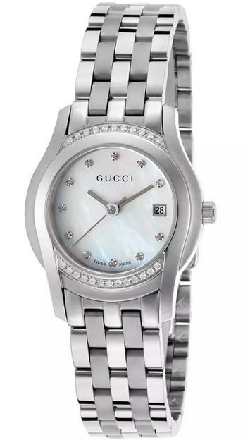 Gucci Women's 5505 Diamond Stainless Steel White MOP Dial Watch