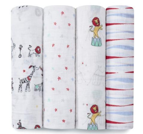 aden + anais Classic Muslin Swaddle Blanket Vintage Circus, 4 Count @ Amazon