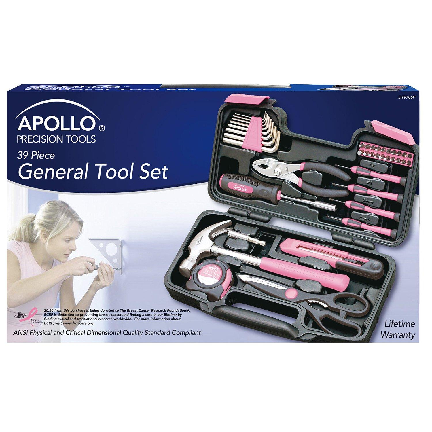 Apollo Precision Tools DT9706P Pink General Tool Set, 39-Piece