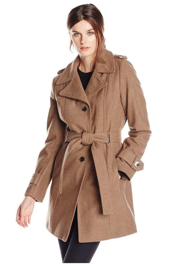 Calvin Klein Women's Single-Breasted Wool-Blend Coat