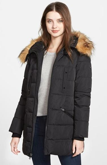 GUESS Quilted Parka with Removable Faux Fur Trim