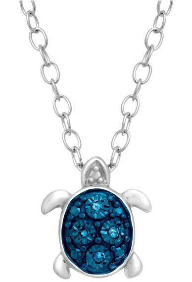 Teeny Tiny Turtle Pendant with Blue Diamonds