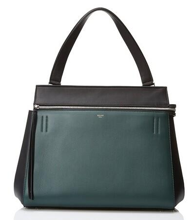 Céline Leather Satchel, Black/Green @ MYHABIT