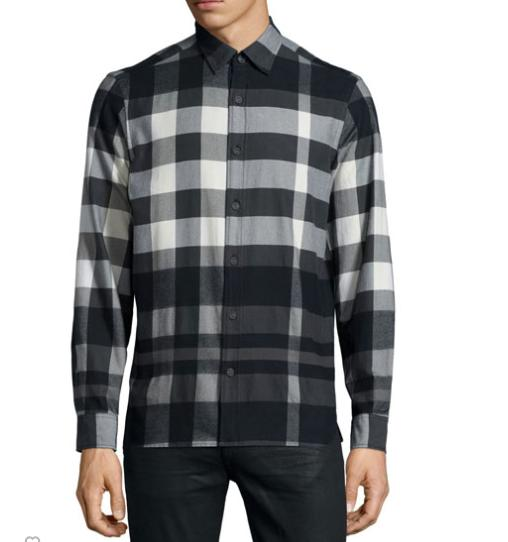 Burberry Brit Caden Buffalo-Check Flannel Shirt, White @ Neiman Marcus