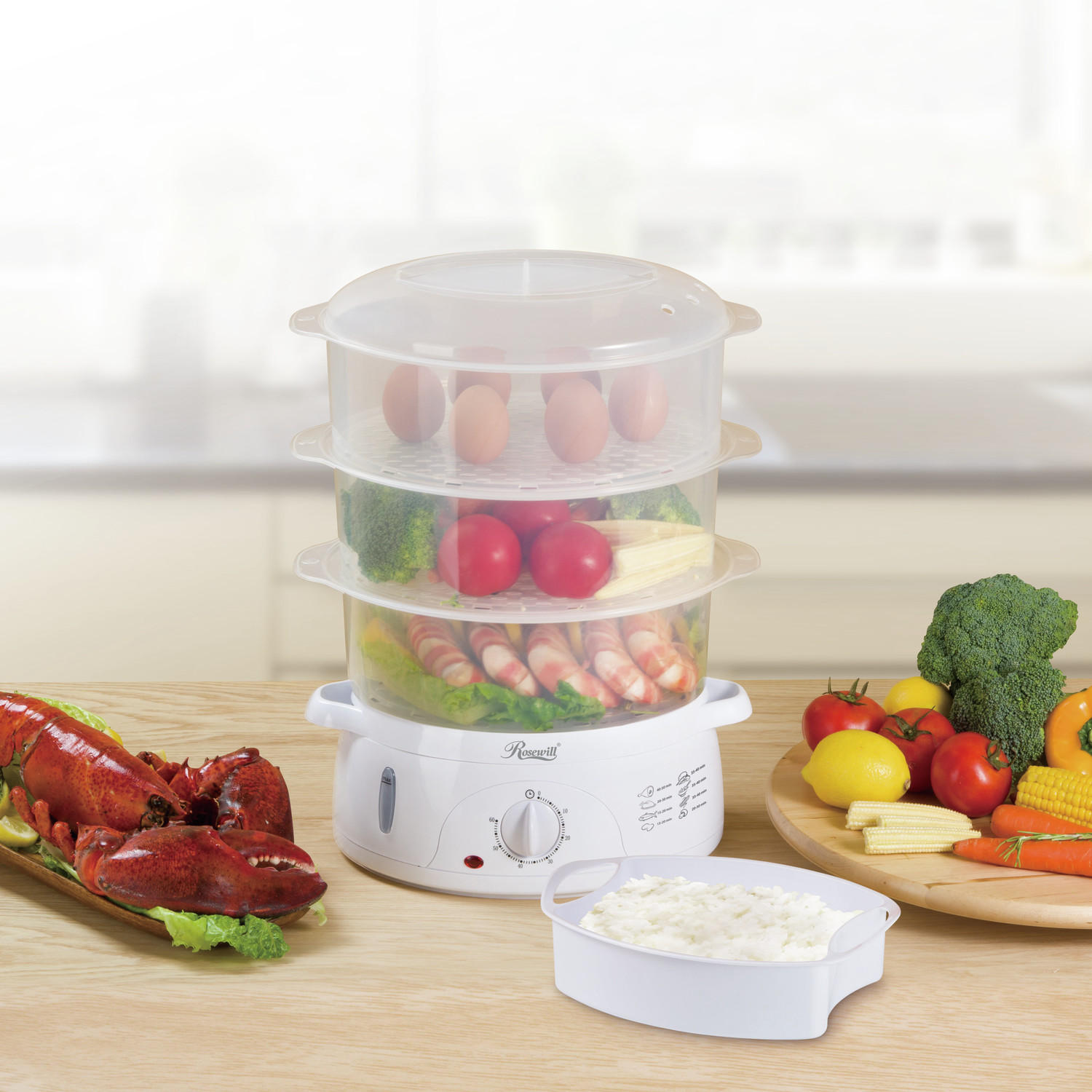 Rosewill RHST-15001 9.5-Quart (9L), 3-Tier Stackable BPA-free baskets Electric Food Steamer with Timer