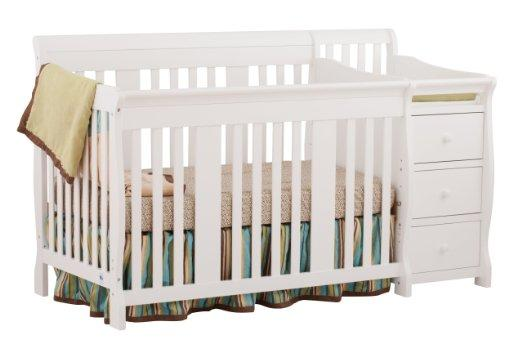 Stork Craft Portofino 4 in 1 Fixed Side Convertible Crib Changer, White