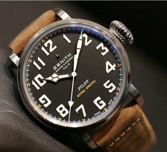 Zenith Pilot 20 Extra Special Black Dial Brown Leather Men's Watch 03.2430.3000/21.C738