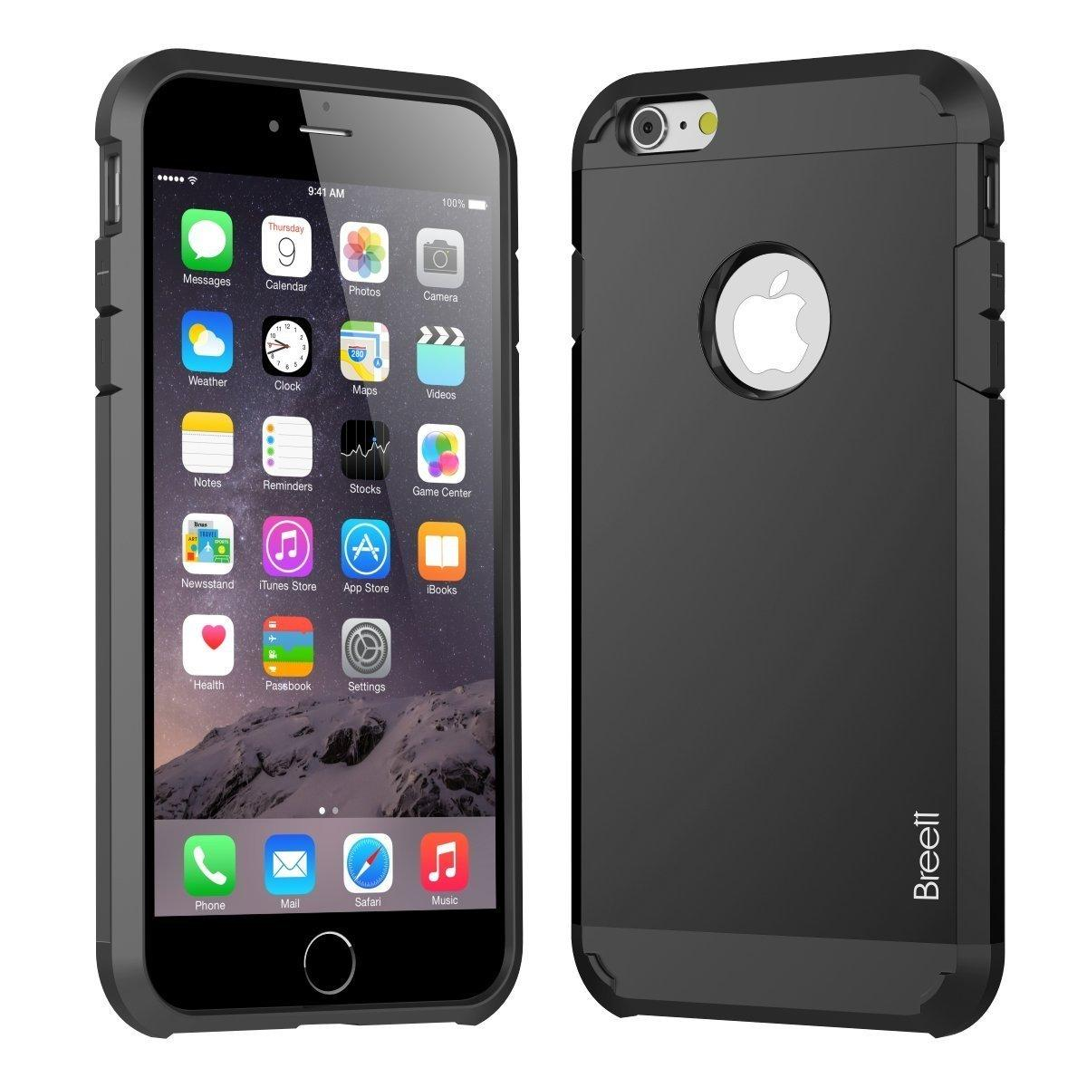 Breett Two-Layer Slim Protective Cover Carrying Case for iPhone 6 Plus 5.5 inch (Black)