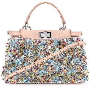$5809 Fendi Peekaboo Floral Stripe Embroidered Mini Satchel Bag