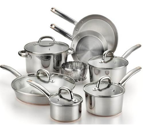 $99.99 T-fal C836SD Ultimate Stainless Steel Copper-Bottom Heavy Gauge Multi-Layer Base Cookware Set, 10-Piece