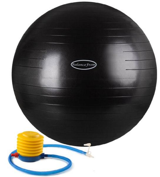 BalanceFrom Anti-Burst and Slip Resistant Fitness Ball with Pump @ Amazon