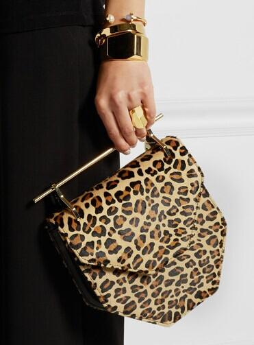 M2MALLETIER Amor Fati leopard-print calf hair shoulder bag @ Net-A-Porter