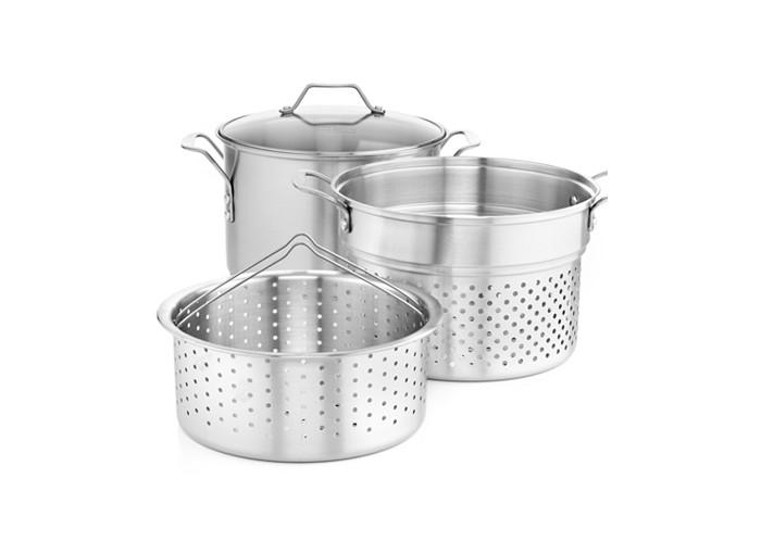 Simply Calphalon Stainless Steel 8 Qt. Covered Multi-Pot with Strainer & Steamer Inserts
