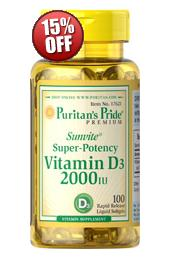 6 for $14.98 Vitamin D3 2000 IU 100 Softgels