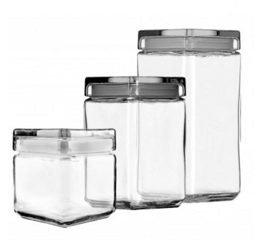 Anchor Hocking Stackable Jars Set of 3 w/ Glass Lid