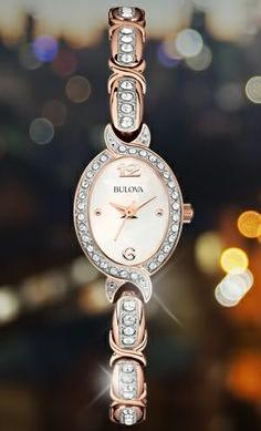 Bulova Crystal Accent Rose Gold-Tone Stainless Steel Bracelet Ladies Watch 98L200