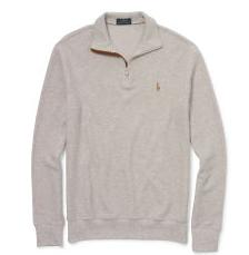 SUEDE-TRIM COTTON PULLOVER @ Ralph Lauren