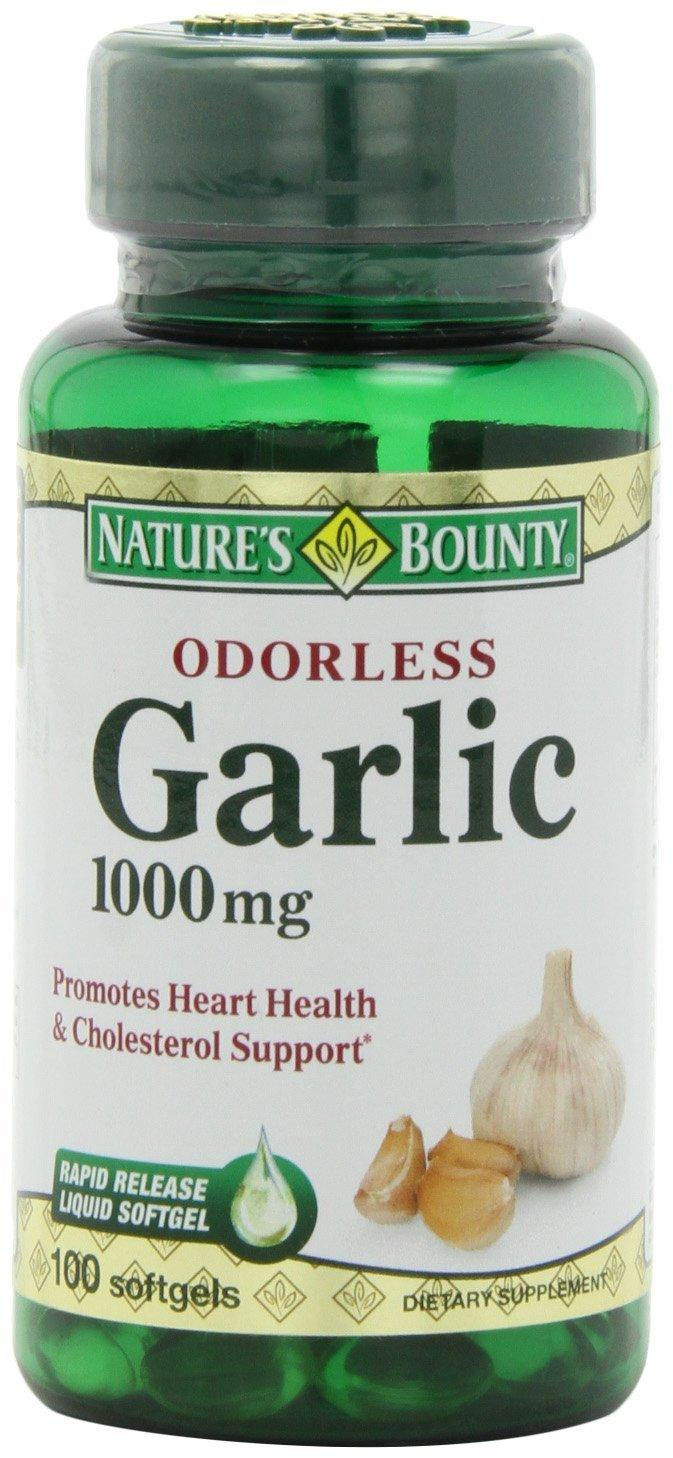Nature's Bounty Odorless Garlic 1000mg, 100 Softgels (Pack of 3)
