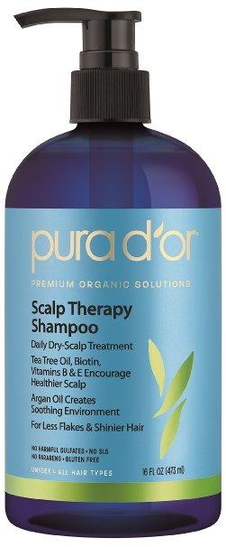 PURA D'OR Scalp and Dandruff Therapy Shampoo with Argan Oil and Tree Tea, 16 fl. oz