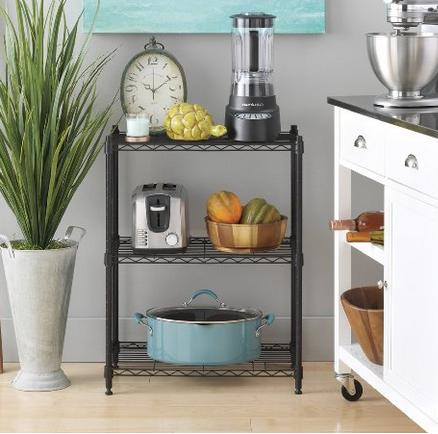 Whitmor 6070-3436 Supreme Small 3-Tier Shelving, Black