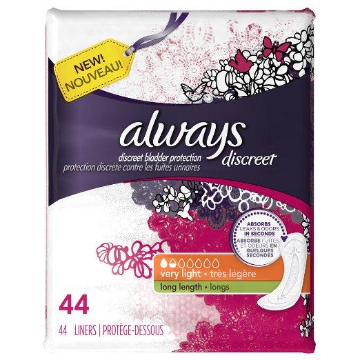 $3.74 Discreet, Incontinence Liners, Very Light, Long Length, 44 Count