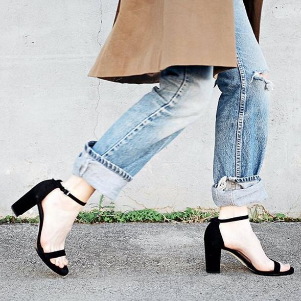 $50 bMoney Gift Card with Stuart Weitzman Nearlynude Ankle Strap Sandals @ Bloomingdales