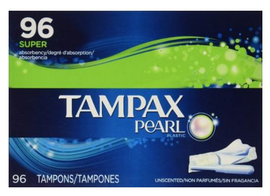 $17.09 Tampax Pearl Unscented Super Absorbency Tampons, 96 Count