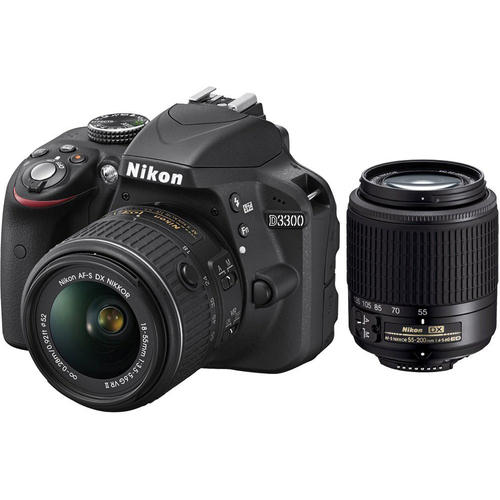 (Factory Refurbished) Nikon D3300 24.2MP DSLR with 18-55mm VR II+ 55-200mm VR  Lens