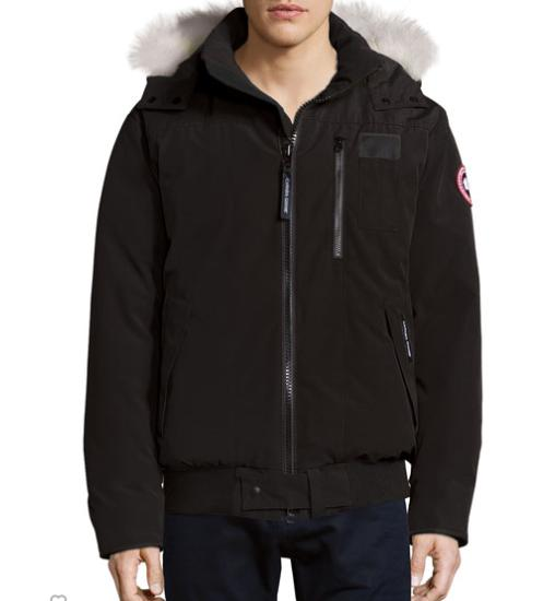 $795 Canada Goose Borden Bomber Jacket with Fur-Lined Hood, Black @ Neiman Marcus