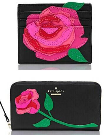 $216 rose-colored glasses rose applique lacey & card case @ kate spade