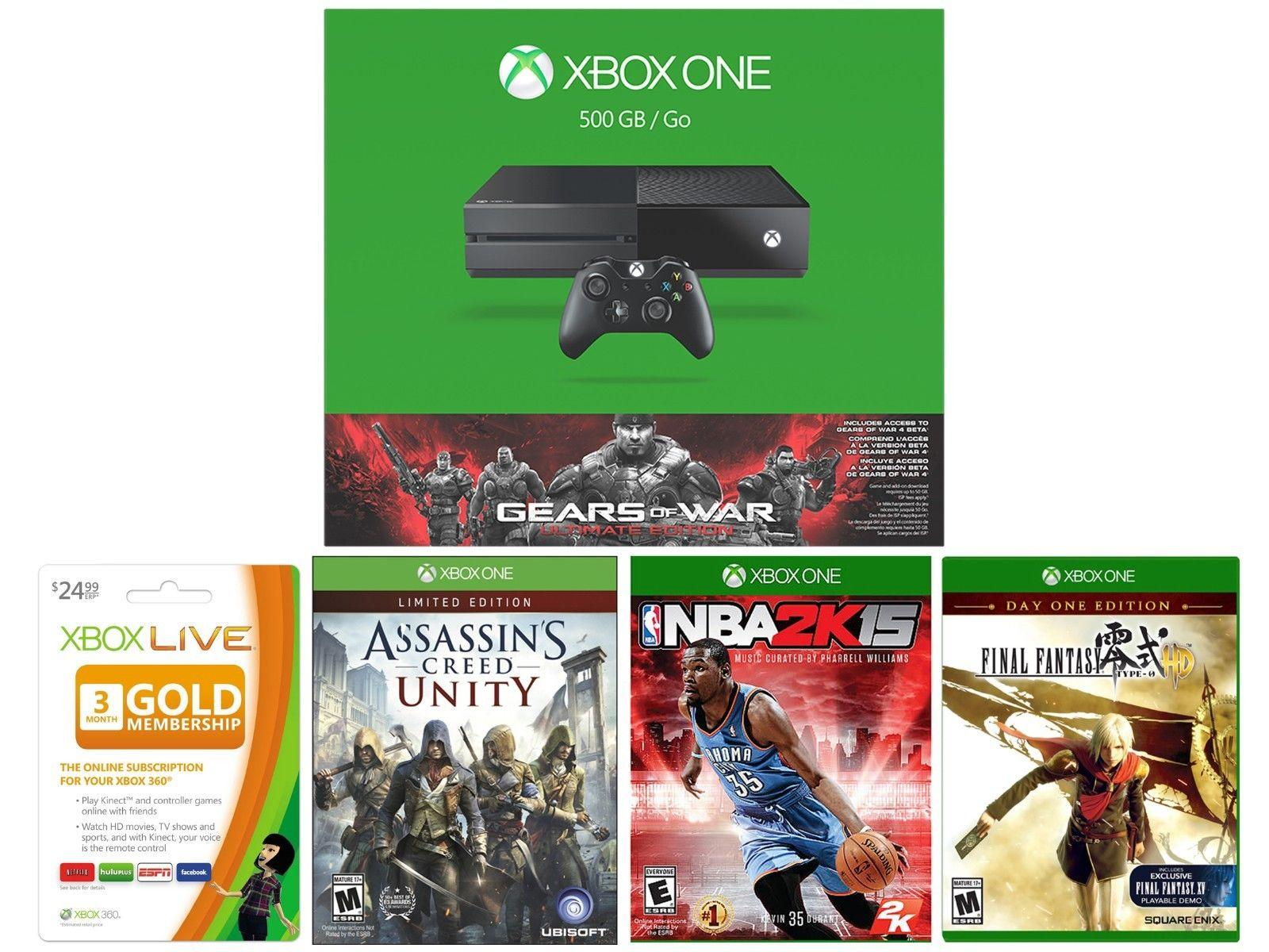 $349.99 Microsoft Xbox One 500GB Console + Assassins + Final Fantasy + NBA 2K15 + 3Month Card