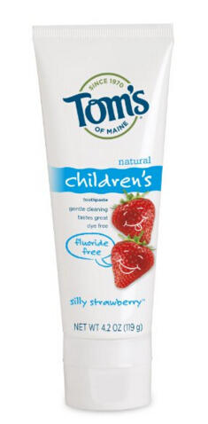 Tom's of Maine Fluoride Free Children's Toothpaste, Silly Strawberry, 4.2 oz, 3 Piece