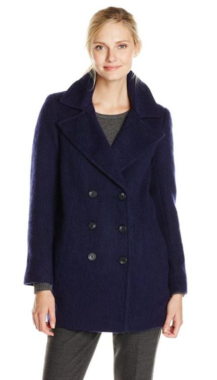 $41.51 Marc New York by Andrew Marc Women's Effie Brushed Wool-Blend Double-Breasted Coat