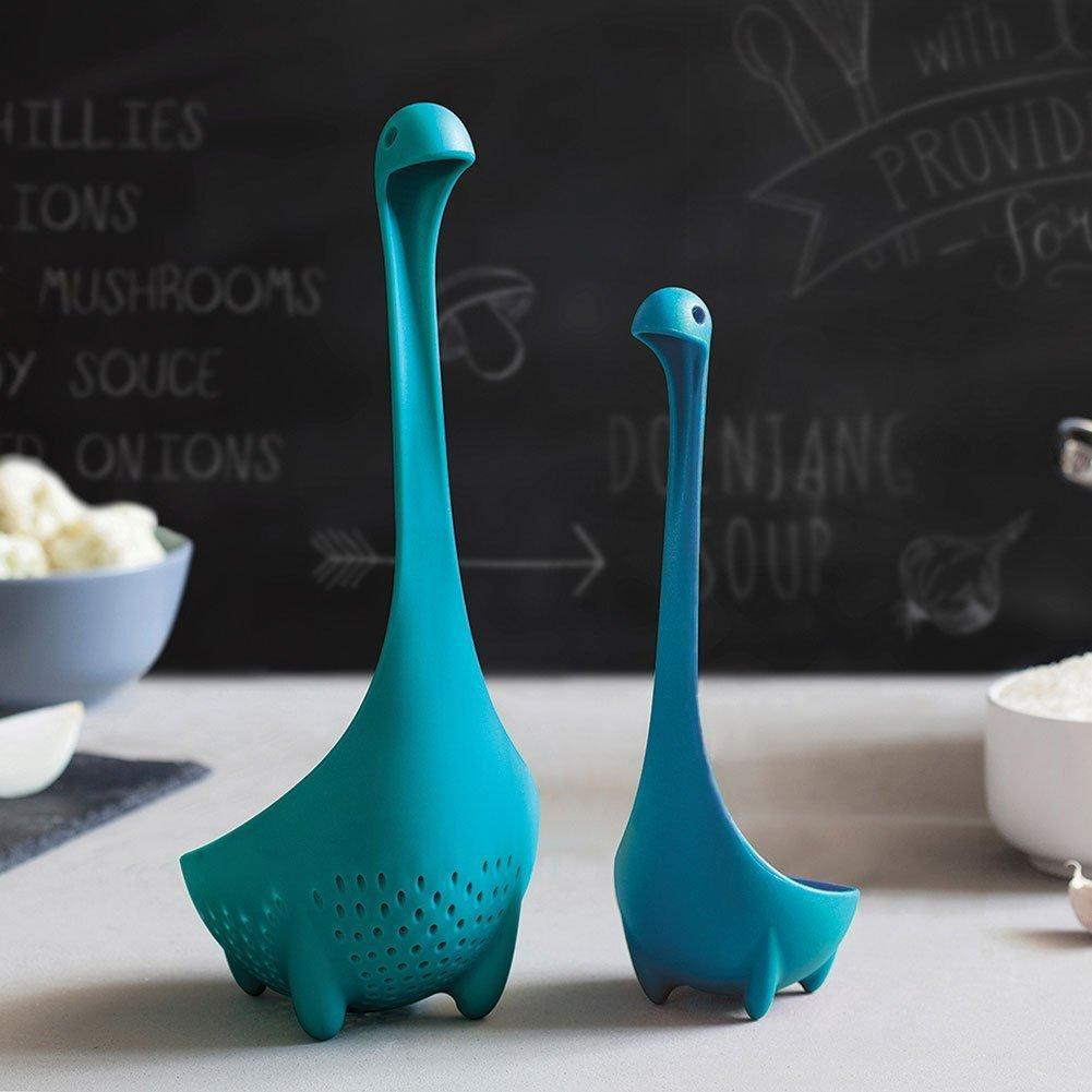 Codream® Ototo Value Pack of 2 Turquoise Mamma Nessie Colander + Turquoise Babies Loch Ness Monster Ladle