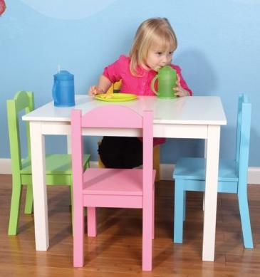 $62.04 Tot Tutors Kids' Table and 4 Chair Set, Pastel Wood @ Amazon