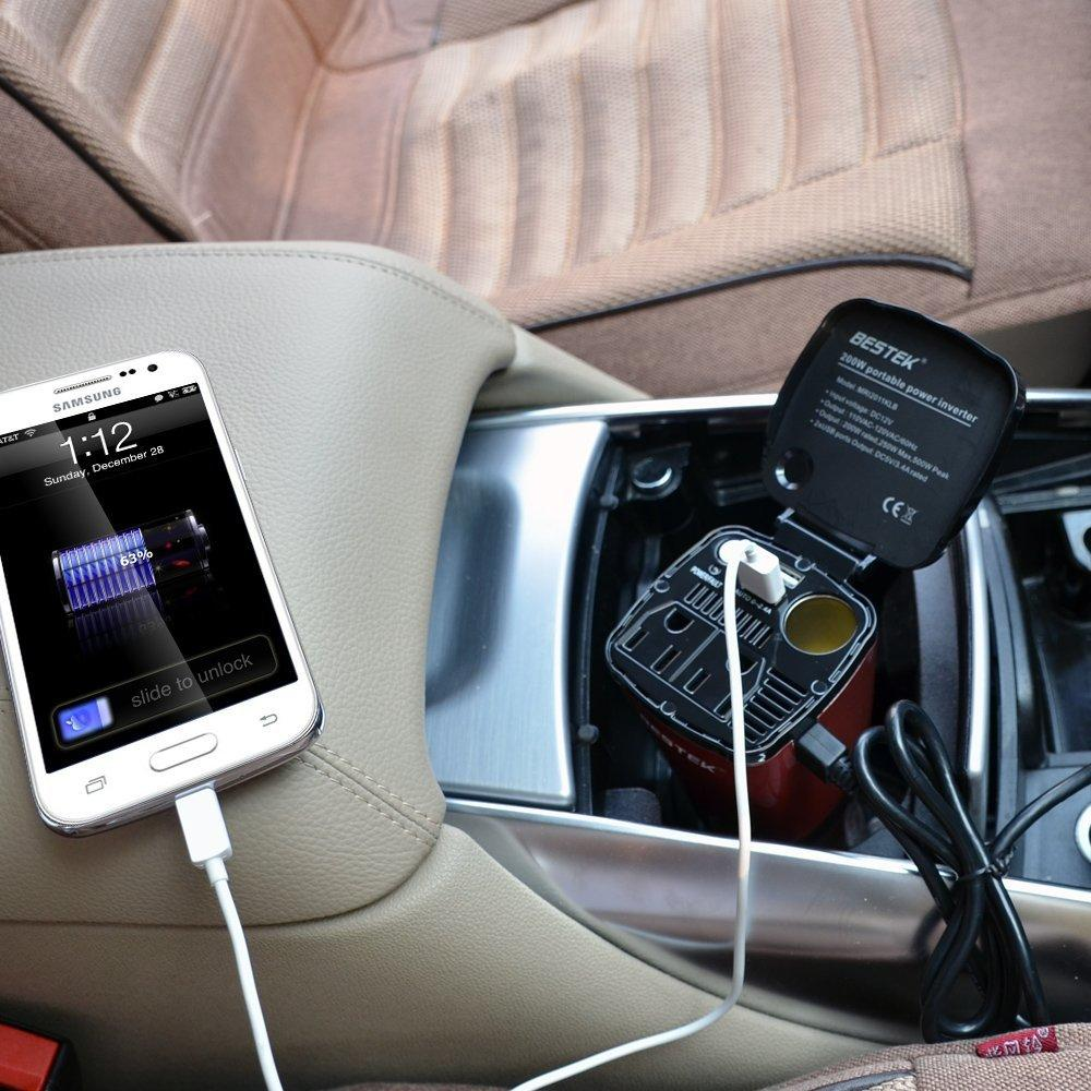 BESTEK 200W Car Cup Power Inverter with 4.5A Dual USB Charging Ports