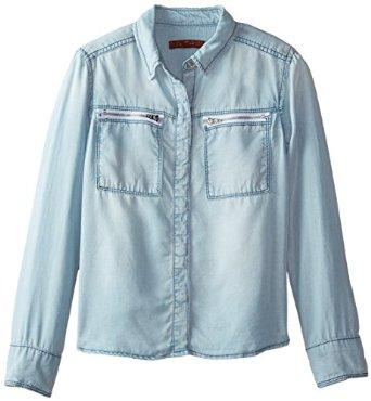 7 For All Mankind Big Girls' Zipper Pocket Slim Boyfriend Chambray Shirt