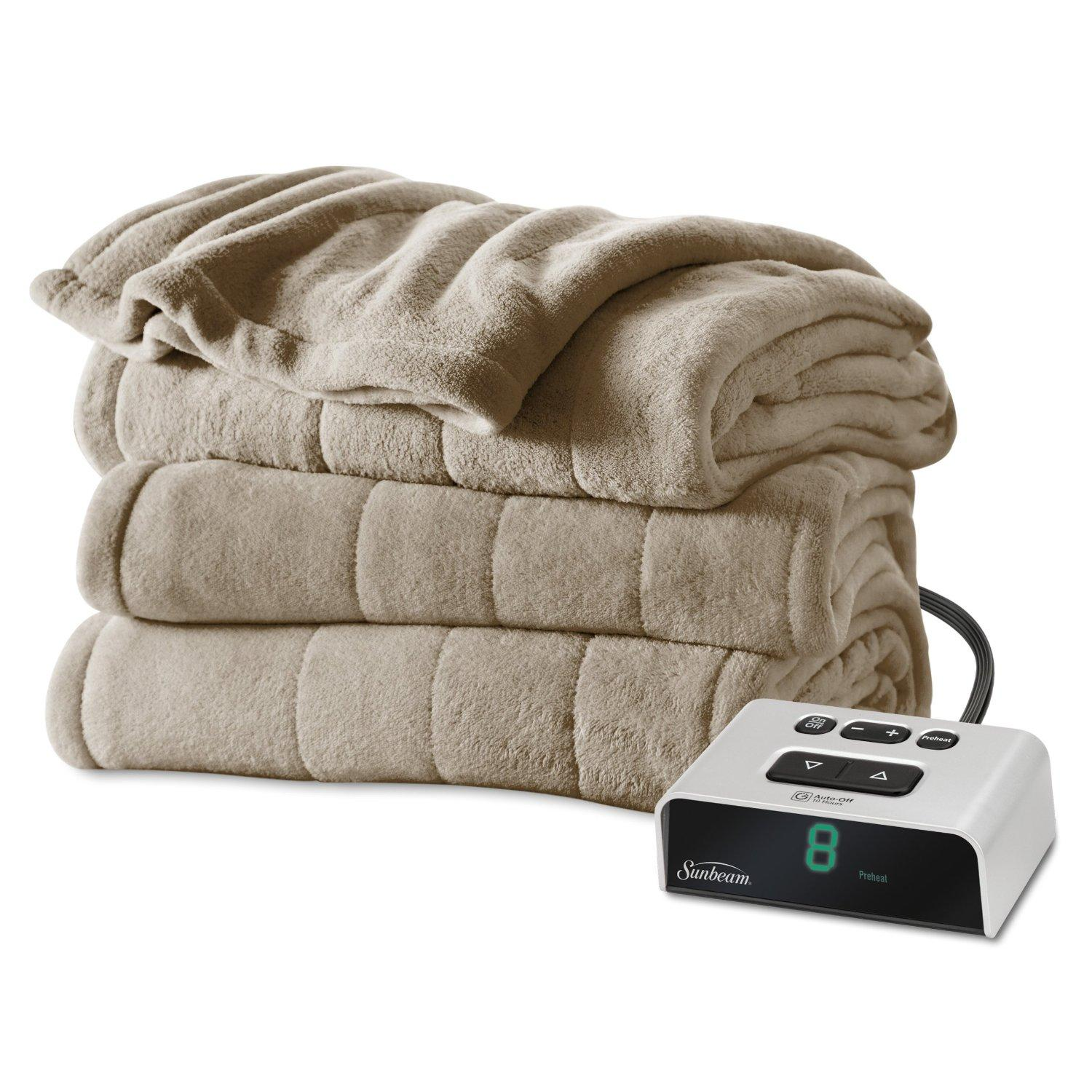 $43.99 Sunbeam Microplush Heated Blanket, Twin, Mushroom