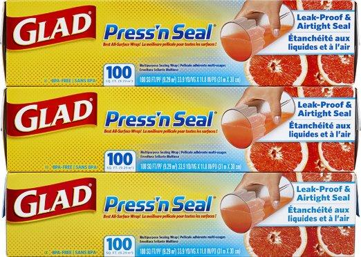 Glad Press'n Seal Wrap, 100 Sq Ft, 3 Count