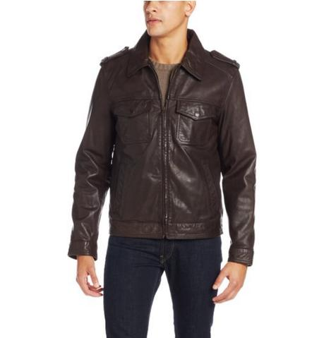 $99.95 Tommy Hilfiger Men's Two-Pocket Leather Moto Jacket