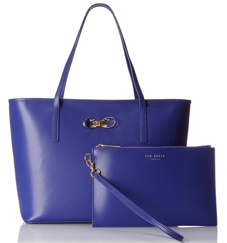 Ted Baker Bonnita Crosshatch Bow Shopper with Pouch Tote Bag